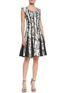 Tadashi Shoji Sleeveless Lace-Print Cocktail Dress, Black/White