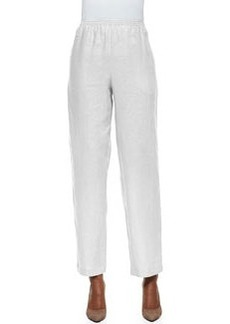 Go Silk Unlined Straight-Leg Linen Pants, Sesame