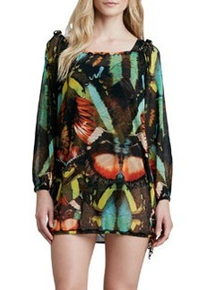 Butterfly-Print Coverup Tunic   Butterfly-Print Coverup Tunic