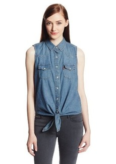 Levi's Women's Sleeveless Tie Front Chambray Shirt