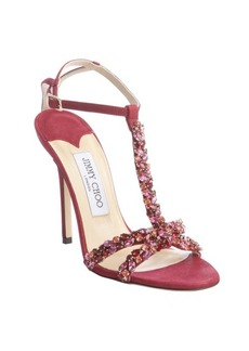 Jimmy Choo red berry suede-leather jeweled strappy pump sandal