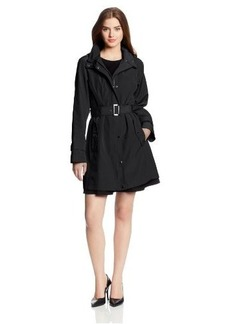 London Fog Women's Single Breasted Belted Snap Closure Rain Coat