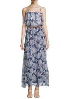 Joie Sleeveless Billowy Floral-Print Voile Dress, Dark Navy