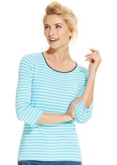 Charter Club Petite Three-Quarter-Sleeve Contrast-Trim Striped Tee