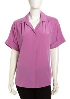 Lafayette 148 New York Pleated Short-Sleeve Blouse, Blossom