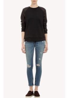 Rag & Bone Leather-Sleeve Sweatshirt
