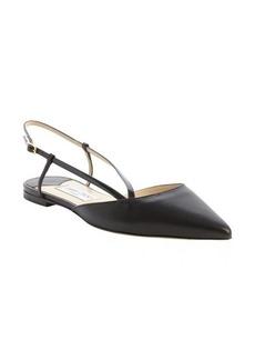 Jimmy Choo black leather pointed toe sling back strap flats