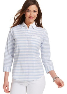 Tommy Hilfiger Three-Quarter-Sleeve Mixed-Stripe Button-Down Top