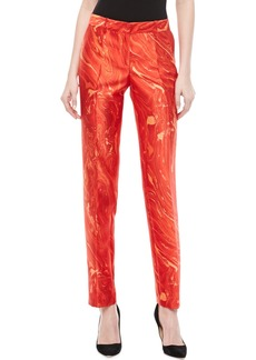 Michael Kors Samantha Agate-Print Shantung Skinny Pants