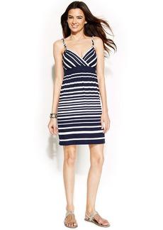 INC International Concepts Petite Spaghetti-Strap Striped Dress
