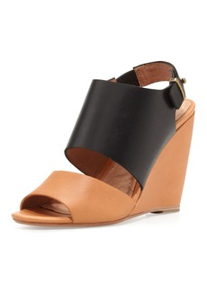 Joie Ashland Two-Tone Wedge Sandal, Black/Natural
