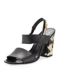 Delman Adria Block-Heel Sandal, Black/Platino