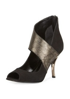 Delman Aliya Metallic Wrap Suede Pump, Black/