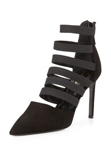 Delman Bae Strappy Point-Toe Bootie, Black