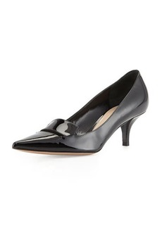 Delman Baily Patent Low-Heel Pump, Black
