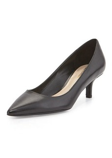 Delman Belle Leather Low-Heel Pump, Black