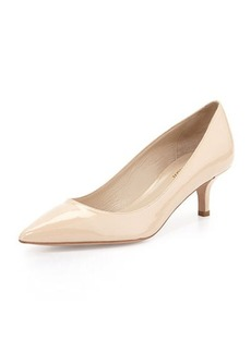 Delman Belle Patent Low-Heel Pump, Nude