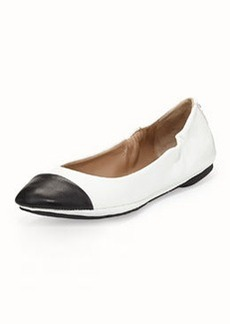 Delman Blair Cap-Toe Ballet Flat, White/Black
