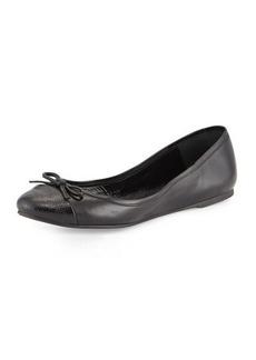 Delman Blake Embossed-Toe Ballerina Flat  Blake Embossed-Toe Ballerina Flat