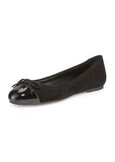 Delman Blake Suede Cap-Toe Bow Ballet Flat, Black