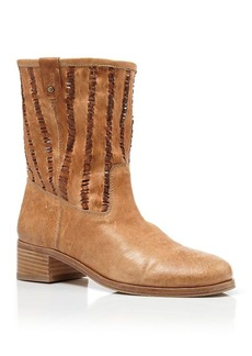 Delman Boots - Merci Slouch Perforated Mid Heel