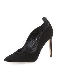 Delman Brie Point-Toe Kid Suede Pump, Black