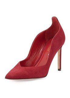 Delman Brie Point-Toe Kid Suede Pump, Deep Red