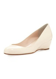 Delman Doll Patent-Leather Wedge, Nude