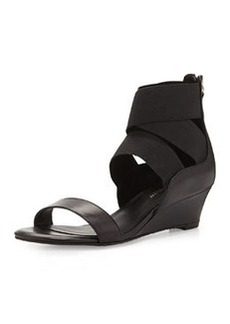 Delman Dylan Strappy Wedge Sandal, Black
