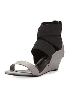 Delman Dylan Strappy Wedge Sandal, Grey/Black