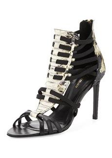 Delman Jacey Snake-Embossed Huarache Sandal, Black/Platino