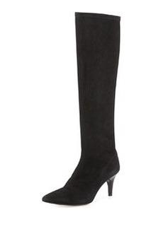 Delman Lilia Pointy-Toe Mid-Heel Suede Boot, Black