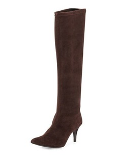 Delman Lilia Pointy-Toe Mid-Heel Suede Boot, Dark Brown