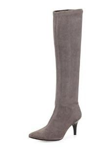 Delman Lilia Pointy-Toe Mid-Heel Suede Boot, Fog