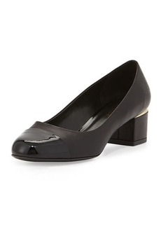 Delman Livia Cap-Toe Block Leather Pump, Black