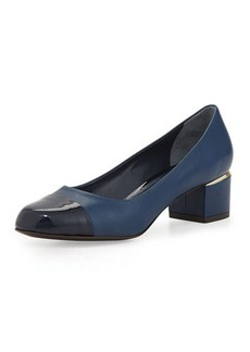 Delman Livia Cap-Toe Block Leather Pump, Indigo