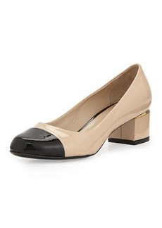 Delman Livia Cap-Toe Block Leather Pump, Nude/Black