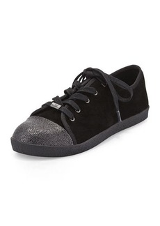 Delman Magie Low-Top Suede Sneaker, Black