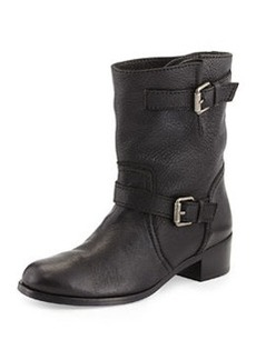 Delman Max Short Moto Boot, Black