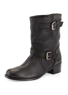 Delman Max Short Moto Boot, Black