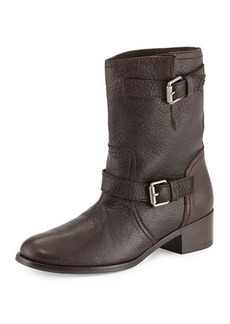 Delman Max Short Moto Boot, Brown