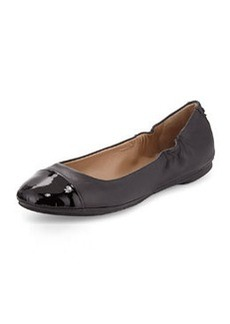 Delman Maya Patent Leather Cap-Toe Ballerina Flat, Black