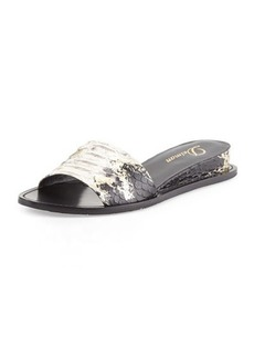 Delman Megan Internal-Wedge Sandal, Black/Platino