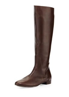 Delman Molly Leather Knee Boot, Dark Brown