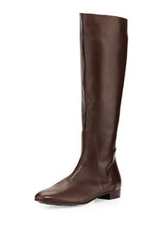 Delman Molly Leather Knee Boot, Dark Brown