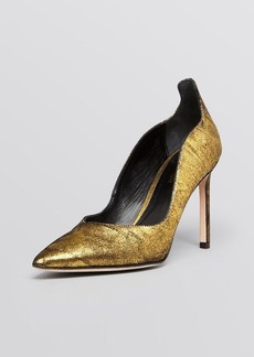 Delman Pumps - Brie Scallop Suede Metallic
