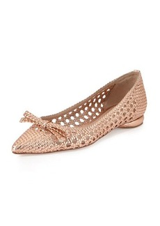 Delman Shana Woven Leather Flat, Rose Gold