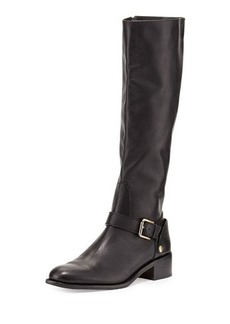 Delman Soar Flat Leather Riding Boot, Black