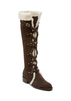 Delman Strut Suede Shearling Boots