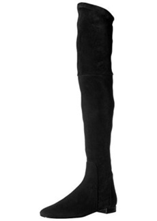 Delman Women's D-Evoke-SS Slouch Boot, Black Stretch Suede, 7 M US